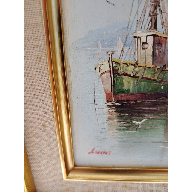 French Framed Oil Painting on Canvas of a Harbor Scene For Sale - Image 4 of 9