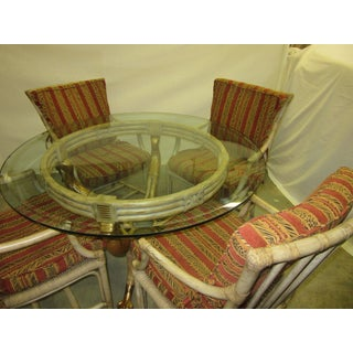 1970's Traditional Rattan Round Dining Set - 5 Pieces Preview