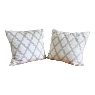 Modern Embroidered Pillows - a Pair For Sale
