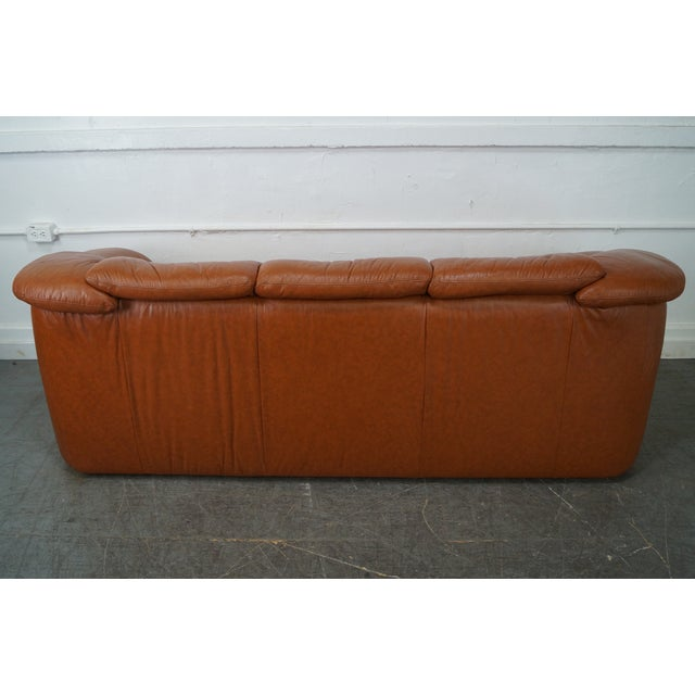 Natuzzi Vintage Caramel Color Leather Sofa - Image 4 of 10