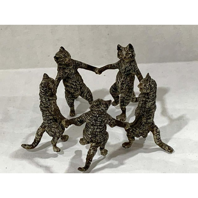 Traditional Vienna Cold Painted Bronze Dancing Cats, Attributed to Bergman For Sale - Image 3 of 11