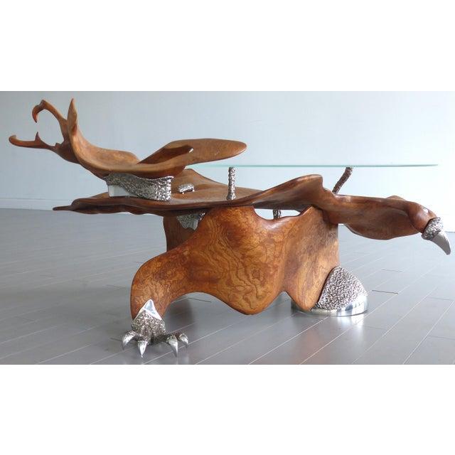 Fantasy Furniture Burl & Chrome Studio Coffee Table, Figurative Eagle & Serpent For Sale - Image 4 of 13