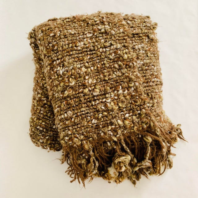 Chunky Knit Pom Pom Fringe Throw Blanket For Sale - Image 4 of 4