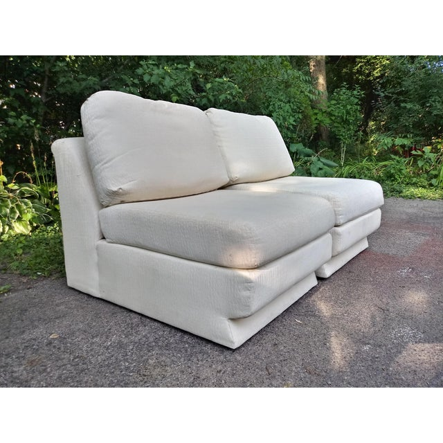 Pair of Thayer Coggin slippers chairs in a soft textured ivory fabric. Sit in clouds.