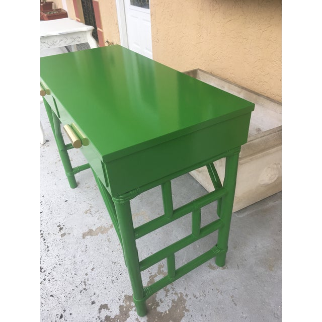 Green High Gloss Bamboo Rattan Desk For Sale In Tampa - Image 6 of 8