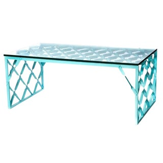 1970s Aqua Turquoise Metal Table For Sale