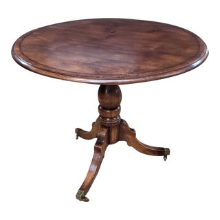 English Traditional Cross Banded Tripod Base Table For Sale