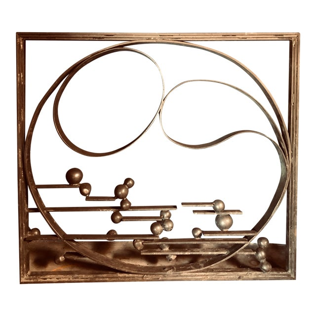Antique Handcrafted Bronzed Iron Art Deco Panel For Sale