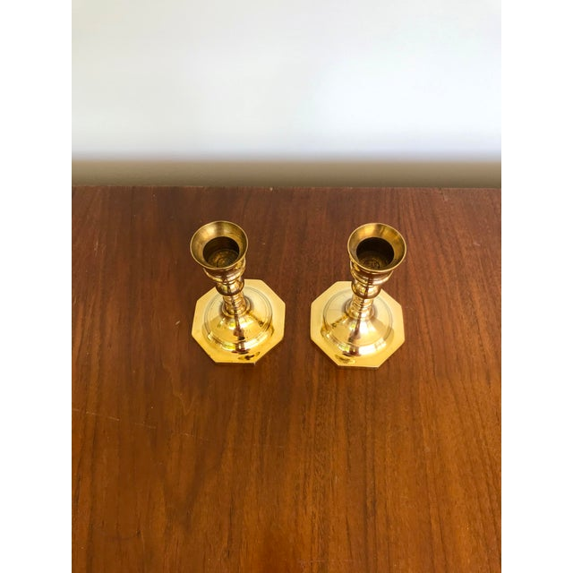 Traditional Mid-Century Brass Octagonal Base Candlesticks - a Pair For Sale - Image 3 of 9