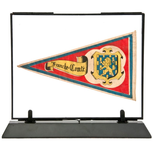 Vintage framed French souvenir travel pennant. Presented in a glass sandwich frame and mounted on a weighted metal...