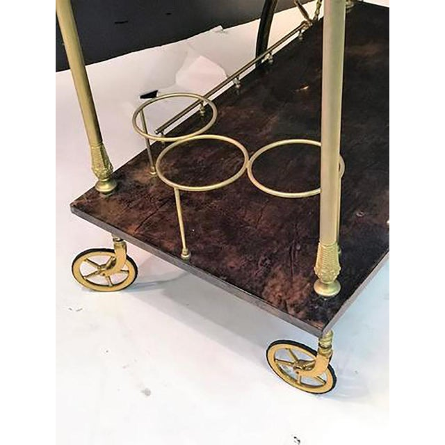 Brown Unusual and Stunning Chocolate Goatskin Bar Cart by Aldo Tura For Sale - Image 8 of 9