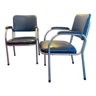 Mid-Century Deco-Style Tubular Chrome Armchairs - a Pair For Sale
