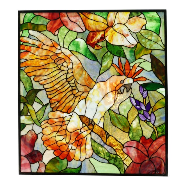 Vintage Abraham '94 Stained Glass Window Decoration of a Tropical Cockatoo For Sale