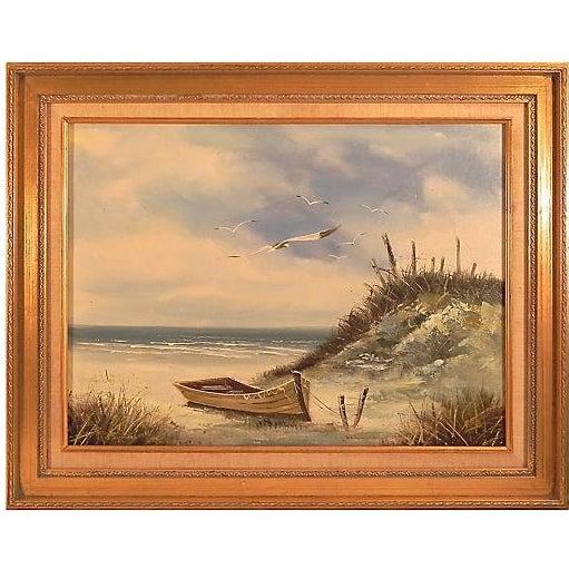 Moored Boat at Seashore Landscape - Image 1 of 3
