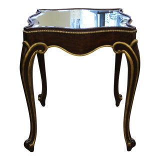 Vintage Maitland Smith Scalloped Edge Accent Table With Mirrored Top For Sale
