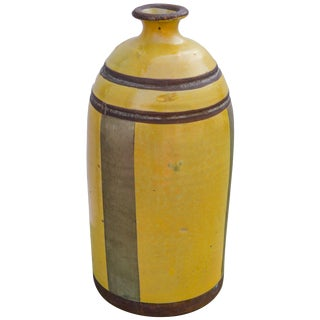 Moroccan Ceramic Vase W/ Brass Inlay For Sale