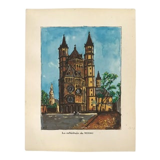 1970s Vintage Worms Cathedral Signed French Gouache Painting For Sale