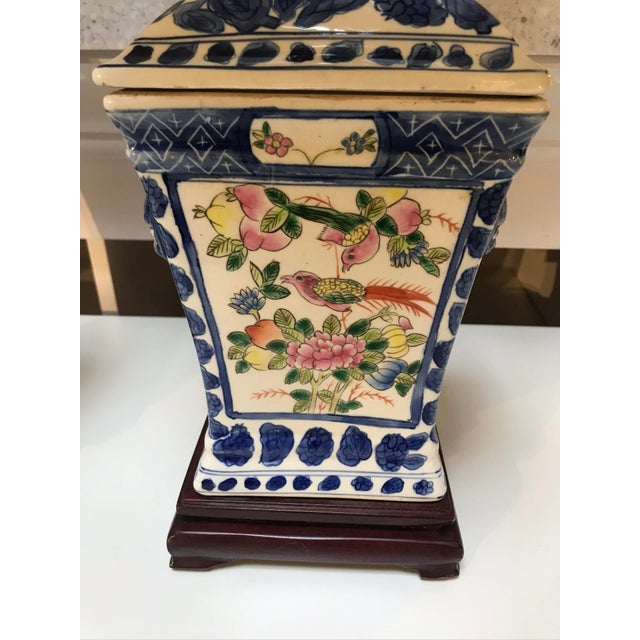 Chinoiserie Porcelain Lamps With Silk Shades - a Pair For Sale - Image 3 of 6