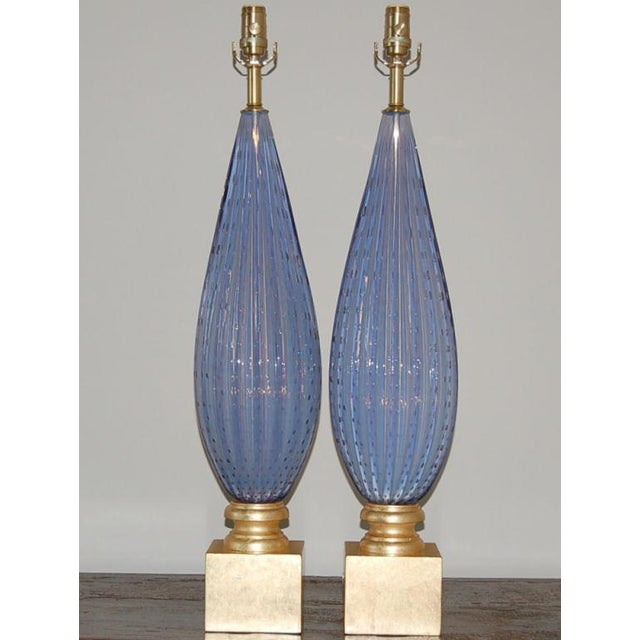 Hollywood Regency Vintage Murano Opaline Glass Table Lamps Lavender For Sale - Image 3 of 10