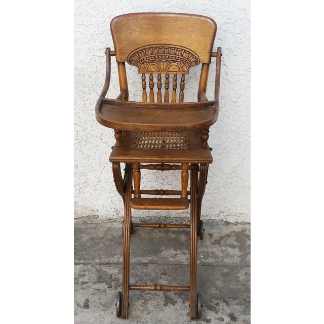 Wonderful American oak pressed back child high chair or stroller. Although  meant for a child. Children's Antique Oak Convertible ... - Antique Oak Convertible Pressed Back High Chair Stroller Chairish