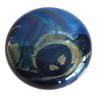 Late 20th Century Contemporary Joan Reep Silver Studio Glass Paperweight For Sale
