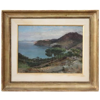 19th Century Important Italian Artist Oil Painting on Wood Landscape For Sale