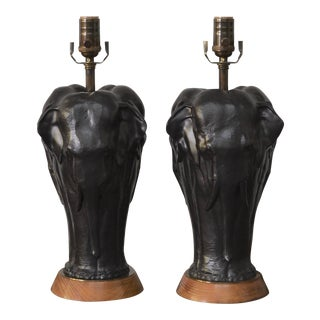 Sculptural Elephant Table Lamps by Frederick Cooper - a Pair For Sale