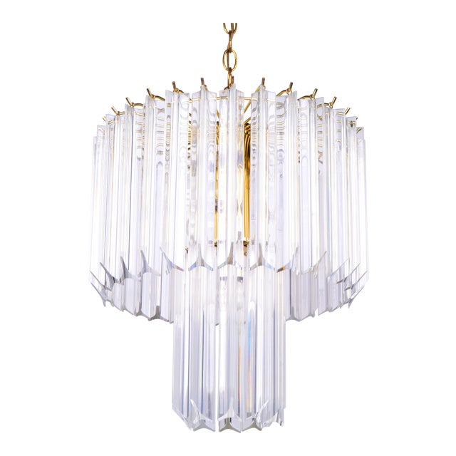 Round Two Tier Brass and Lucite Chandelier - Image 1 of 11