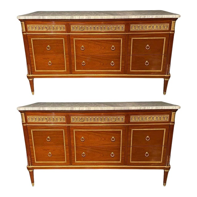 Pair of Monumental French Commodes in the Manner of Maison Jansen For Sale