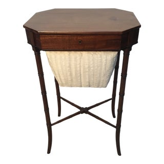 Antique English Mahogany Sewing Table For Sale