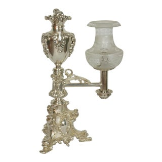 19th Century Silver Rococo Argand Lamp For Sale