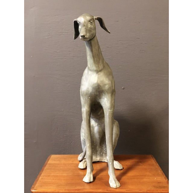 Mid 20th Century Large Vintage Brass GreyHound Statue For Sale - Image 5 of 7