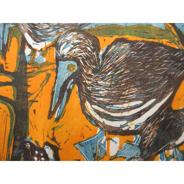 Vintage Lithograph Titled: Blue Footed Boobies Signed by Artist: Ann Zahn For Sale - Image 4 of 5