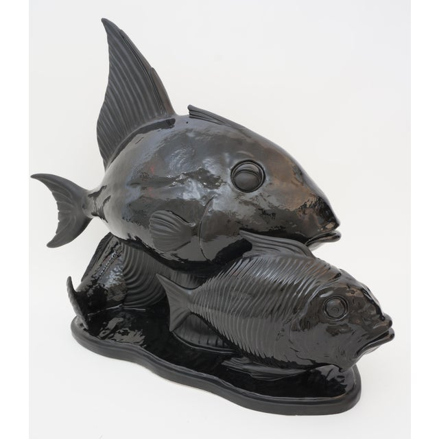 Art Deco 1930s Lejan Style Sculpture School of Fish in Black Ceramic For Sale - Image 9 of 12