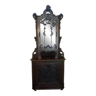 Antique Italian Venetian Corner Cabinet W Carved Cupid For Sale