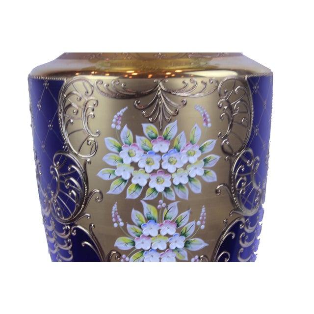 Glass Pasargad N Y Antique Cobalt Blue Cased Art Glass Vase With Enameled Flowers For Sale - Image 7 of 8