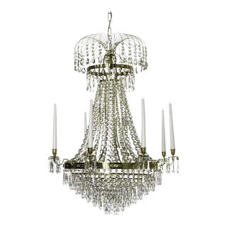 8 arm Empire Crystal Chandelier in polished brass with crystal drops (width 72cm/28 inches) For Sale