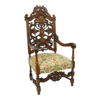 Early 20th Century Italian Renaissance Figural Bird & Lion Carved Walnut Throne Captain Arm Chair For Sale