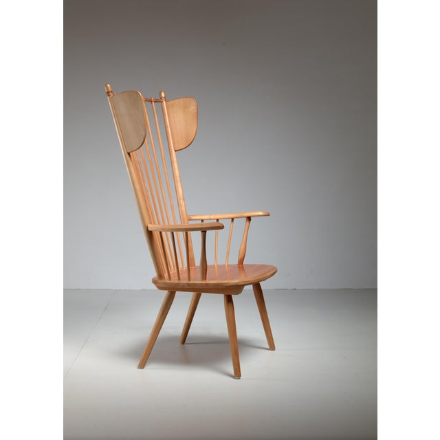 Animal Skin Albert Haberer Wingback Armchair, Germany, Circa 1950 For Sale - Image 7 of 11