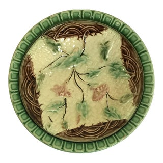 Embossed Majolica Napkin Bowl With Flower Sprays For Sale
