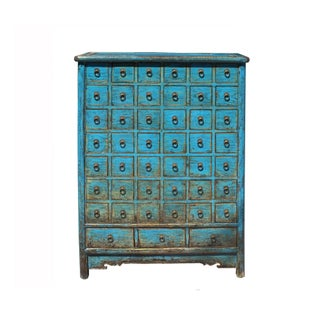 Chinese Distressed Bright Blue 45 Drawers Medicine Apothecary Cabinet Preview