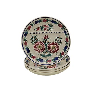 Vintage French Quimper Divided Lunch Plates - Set of 4 For Sale