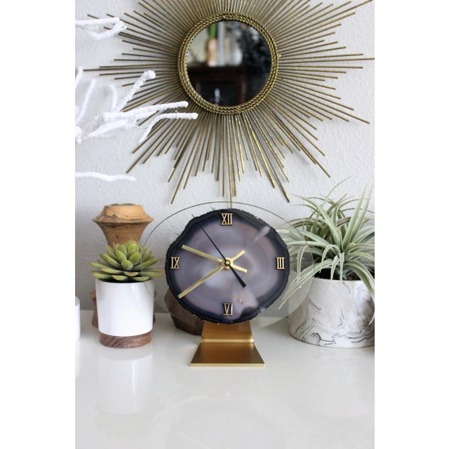 Modern Gray Agate Desk Clock - Image 8 of 8