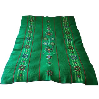 Kelly Green Stitched Embroidered Knit Blanket For Sale