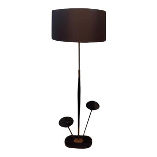 Italian Mid-Century Black Floor Lamp in the Style of Stilnovo With Large Shade For Sale