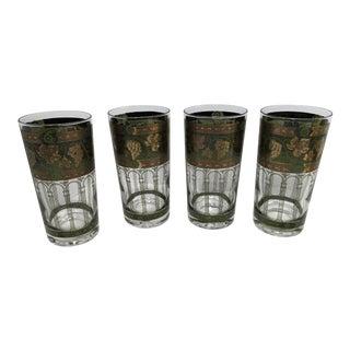 1960s Vintage Cora Grape and Greek Column Highball Glasses - Set of 4 For Sale