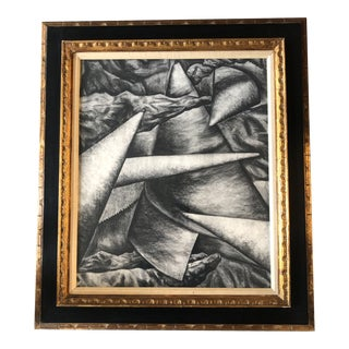 Original Vintage Abstract Mid Century Modern Charcoal Drawing Vintage Carved Wood Frame For Sale