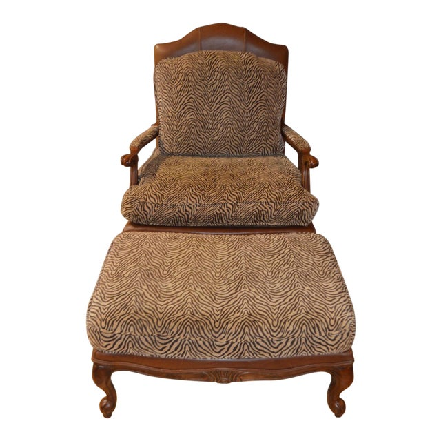 Ethan Allen Multi Fabric Oversized Chair & Ottoman For Sale
