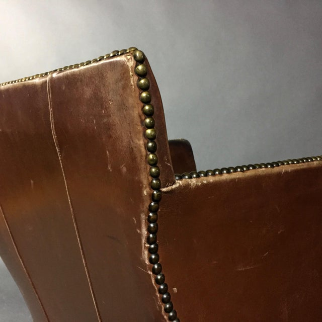 Brown 1940s Swedish Square-Back Leather Club Chair For Sale - Image 8 of 11