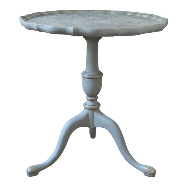 20th Century Shabby Chic Pie Crust Trim Gray Side Table For Sale